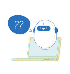 Robot with question marks near laptop ready vector