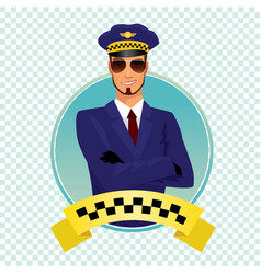 Round icon with stylish shaving taxi driver vector