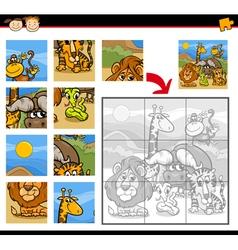 Safari animals jigsaw puzzle game vector