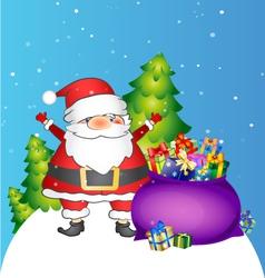 Santa and bag with gifts vector
