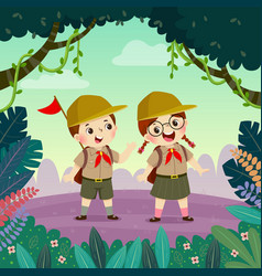 Scout boy and scout girl hiking in forest vector