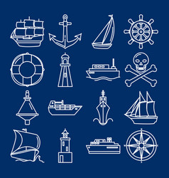 sea collection ship icons in line style vector image