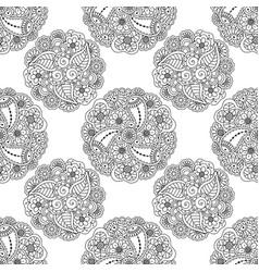 seamless pattern of decorative floral mandalas vector image