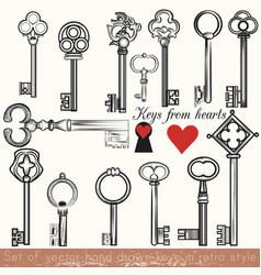 Set of hand drawn keys set in vintage style vector
