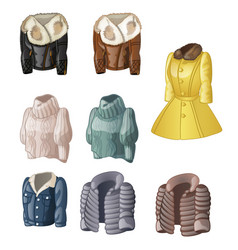 set of womens animated clothing isolated vector image