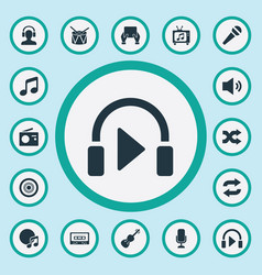 Set simple music icons elements again melody vector