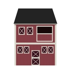 Silhouette colorful with barn of two floors vector