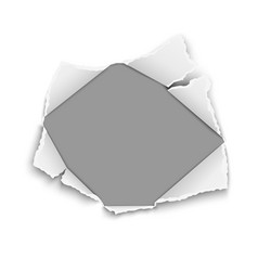 Snatched hole in white paper with torn edges vector