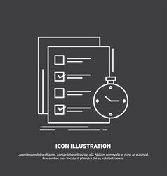 Todo task list check time icon line symbol for ui vector