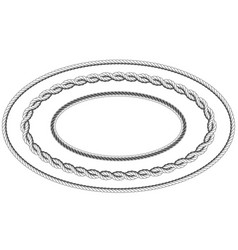 Twisted rope frame oval shape - elliptic border vector