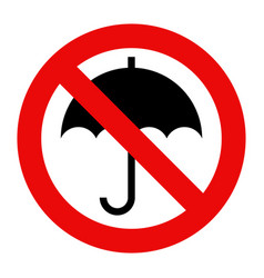 umbrella not allowed no umbrella sign prohibited vector image
