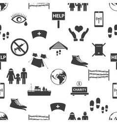 Various simple refugees theme icons seamless vector
