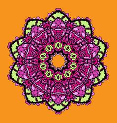 Violet stylized mandala over bright orange vector