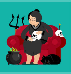 witch in chair skull and black cat sorceress and vector image