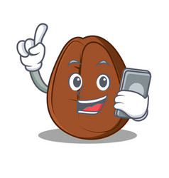 With phone coffee bean character cartoon vector