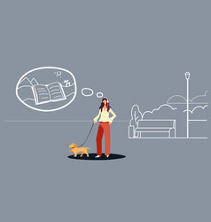 Woman walking with dog girl listening audio book vector