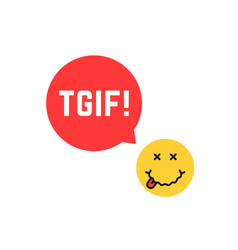 yellow drunk emoji tgif logo like thank god it is vector image