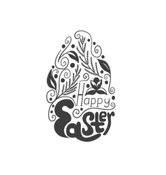Greeting card with doodle easter egg vector image