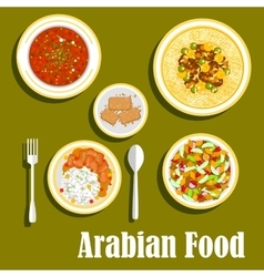 Regional arab cuisines dishes flat icon vector