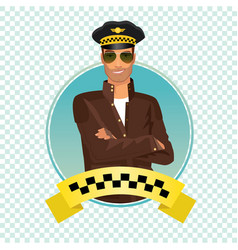 round icon with unshaved taxi driver vector image vector image