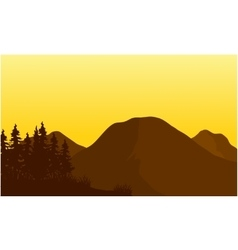 Silhouette of big mountain at sunset vector