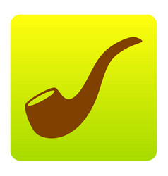 smoke pipe sign brown icon at green vector image vector image
