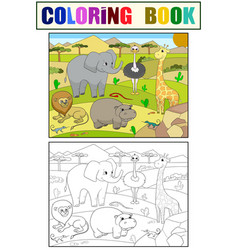 Animals of africa savanna coloring for vector