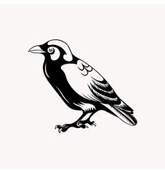 Black raven bird Hand drawn doodle vector image