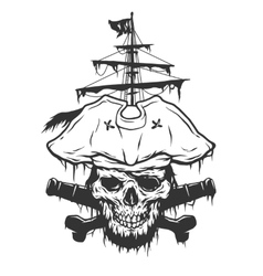 Captain skull on a background of pirate attributes vector image