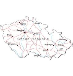 Czech Republic Black White Map vector image vector image