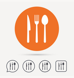 fork knife and spoon icons cutlery sign vector image vector image