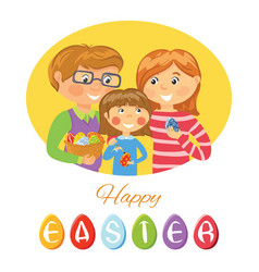 happy easter card with family decorating eggs vector image vector image