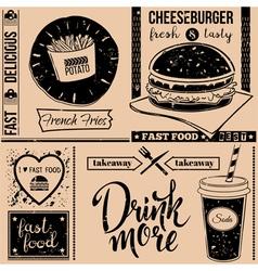 Menu pattern with fast food symbols vector image