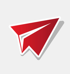 paper airplane sign new year reddish icon vector image