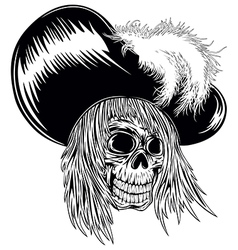 skull in hat with feathers vector image