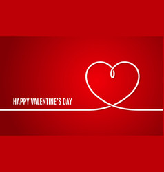 valentines day banner valentines heart line on vector image vector image
