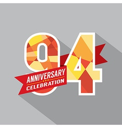 94th Years Anniversary Celebration Design vector image