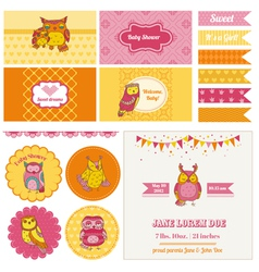Baby Shower Owl Party Set vector image