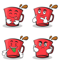 collection of red glass character cartoon set vector image vector image