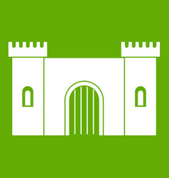 fortress with gate icon green vector image