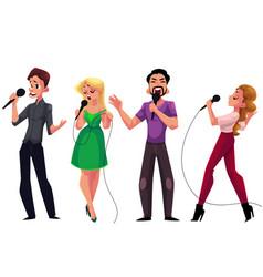 men and women singing karaoke holding microphones vector image vector image