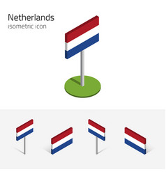 netherlands flag 3d isometric icons vector image vector image