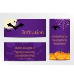 Set of Inventations on Halloween Party vector image vector image