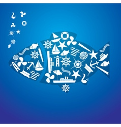 nautical icon fish pattern eps10 vector image