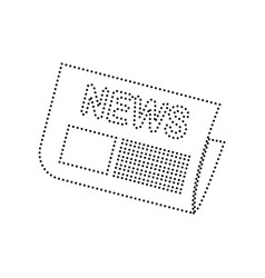 newspaper sign black dotted icon on white vector image