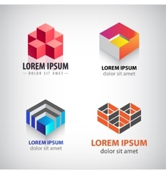 set of 3d cube geometric structure logos vector image vector image