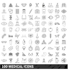 100 medical icons set outline style vector image vector image