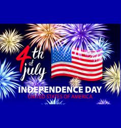 4 july fireworks background for independence day vector image