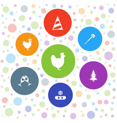 7 year icons vector image