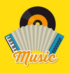 accordion musical instrument label vector image